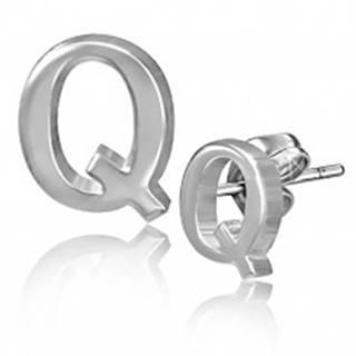 Oceľové puzetové náušnice - hladké písmeno Q