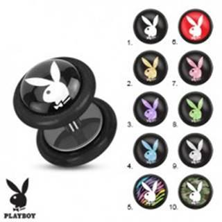 Oceľový fake plug do ucha, čierna farba, motív zajačika Playboy - Symbol: PB01