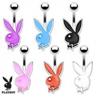 Oceľový piercing do bruška, strieborný odtieň, farebný zajačik Playboy, 12 mm - Farba piercing: Biela