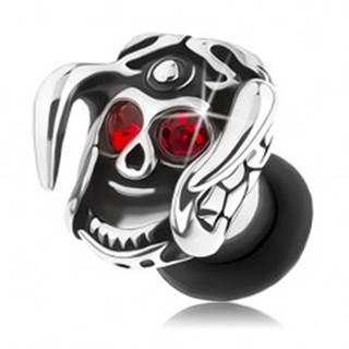 Oceľový plug do ucha, lebka s prilbou a rohami, červené zirkóny, patina - Hrúbka: 3 mm