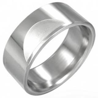 Oceľový prsteň hladký s matnými polkruhmi - Veľkosť: 54 mm