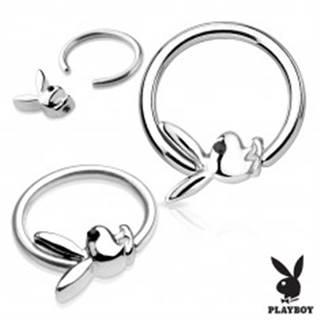 Piercing krúžok z chirurgickej ocele striebornej farby s Playboy zajačikom - Hrúbka piercingu: 1,2 mm