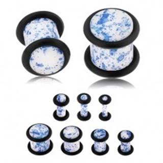 Plug do ucha z akrylu, biely povrch pofŕkaný modrou farbou, gumičky - Hrúbka: 10 mm