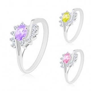 Prsteň s rozdelenými ramenami, oblúčiky z čírych zirkónov, farebný zirkónový ovál - Veľkosť: 49 mm, Farba: Ružová