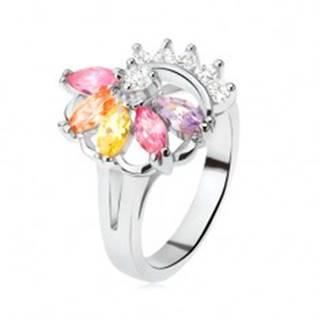 Prsteň striebornej farby, vejár z farebných kamienkov, číre zirkóny - Veľkosť: 49 mm