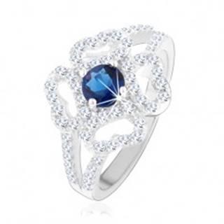 Prsteň - striebro 925, rozdelené ramená, číry obrys kvetu, modrý zirkón - Veľkosť: 49 mm