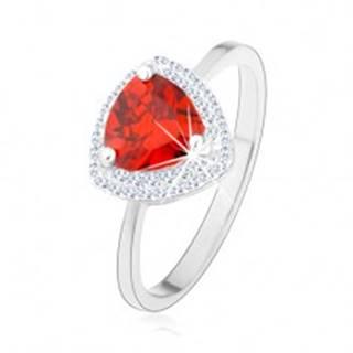Prsteň, striebro 925, zaoblený trojuholník - oranžový zirkón, úzke ramená - Veľkosť: 50 mm