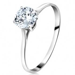Prsteň z bieleho 14K zlata - veľký okrúhly zirkón čírej farby, úzke ramená - Veľkosť: 50 mm