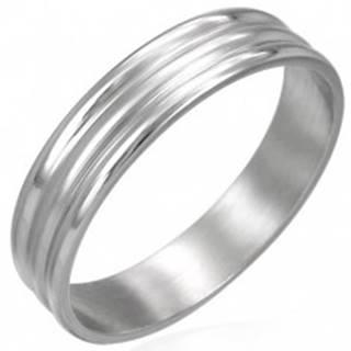 Prsteň z chirurgickej ocele 2 širšie pásiky - Veľkosť: 54 mm