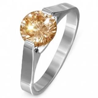 """Prsteň z ocele - žltý kameň """"November"""", postranné úchyty - Veľkosť: 51 mm"""