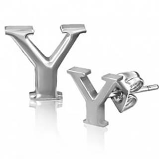 Puzetové náušnice z ocele - lesklé písmeno Y