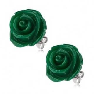 Puzetové oceľové náušnice, tmavozelená ruža zo živice, 20 mm