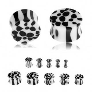 Sedlový plug do ucha z akrylu, čierno-biely leopardí vzor - Hrúbka: 10 mm