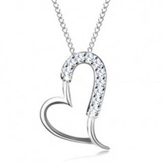 Strieborný 925 náhrdelník - ligotavá asymetrická kontúra srdca, tenká retiazka