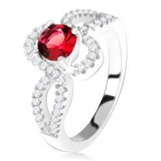 Strieborný 925 prsteň, červený okrúhly kameň, zatočené zirkónové ramená - Veľkosť: 49 mm