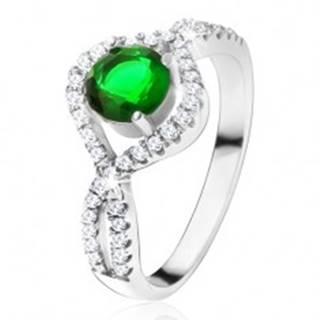 Strieborný 925 prsteň, okrúhly zelený kameň, zatočené zirkónové ramená - Veľkosť: 49 mm