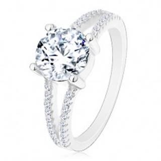 Strieborný 925 prsteň - zásnubný, rozdelené zirkónové ramená, žiarivý okrúhly zirkón - Veľkosť: 50 mm
