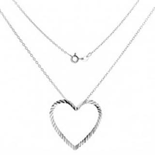 Strieborný náhrdelník 925 - retiazka s vlnitou kontúrou srdca