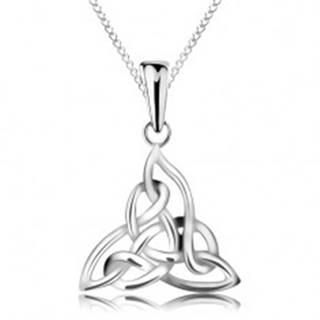 Strieborný náhrdelník 925, trojcípy keltský uzol, retiazka z elipsovitých očiek