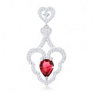 Strieborný prívesok 925, dve malé srdiečka, vlnitá kontúra srdca, ružová kvapka
