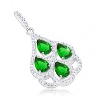 Strieborný prívesok 925, zelené zirkónové slzy, priehľadný lem