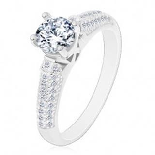 Strieborný prsteň 925, okrúhly číry zirkón, trblietavé zirkónové ramená - Veľkosť: 50 mm