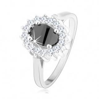 Strieborný prsteň 925, oválny čierny zirkón, trblietavá obruba, ródiovaný - Veľkosť: 47 mm