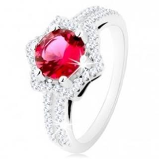 Strieborný prsteň 925, rozdvojené ramená, hviezdičková kontúra, ružový zirkón - Veľkosť: 49 mm