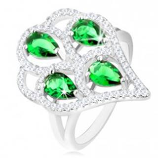 Strieborný prsteň 925, strapec zo zelených zirkónových slzičiek s čírym lemom - Veľkosť: 50 mm