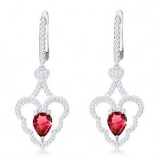 Trblietavé náušnice, striebro 925, zvlnený obrys srdca, ružová kvapka