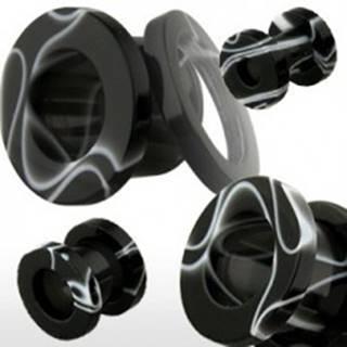 Tunel do ucha z akrylu, čierny s bielym mramorovým vzorom - Hrúbka: 10 mm, Farba piercing: Čierna