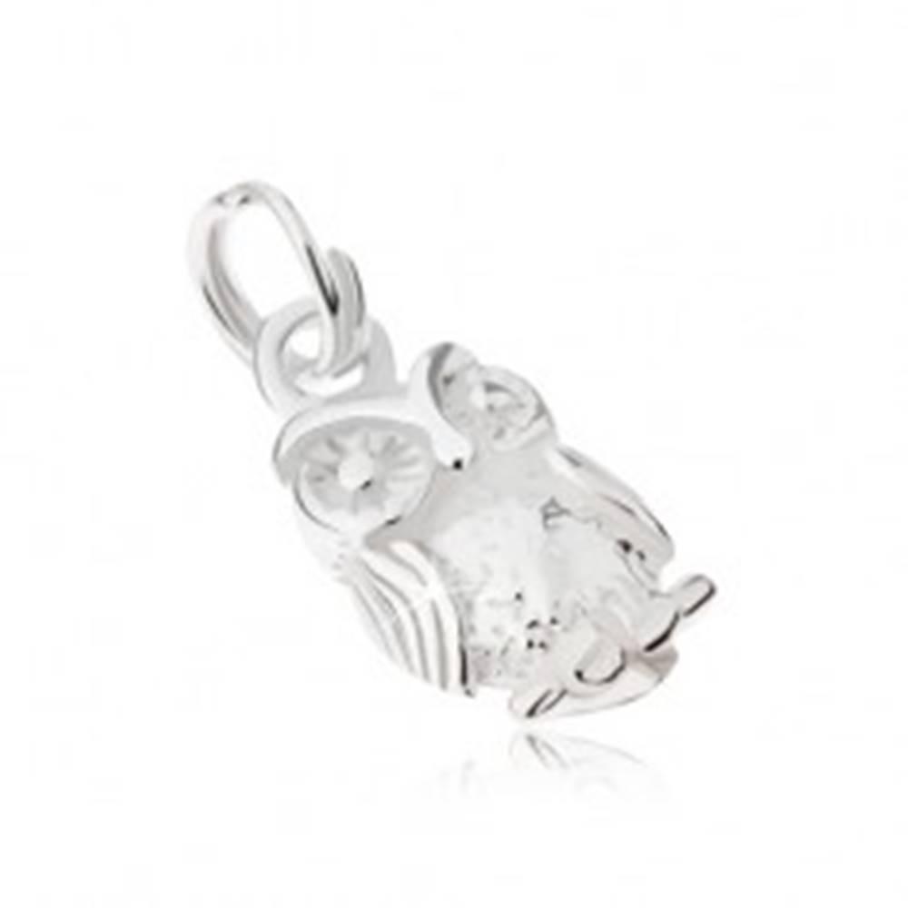 Šperky eshop Gravírovaný prívesok zo striebra 925 - múdra sova