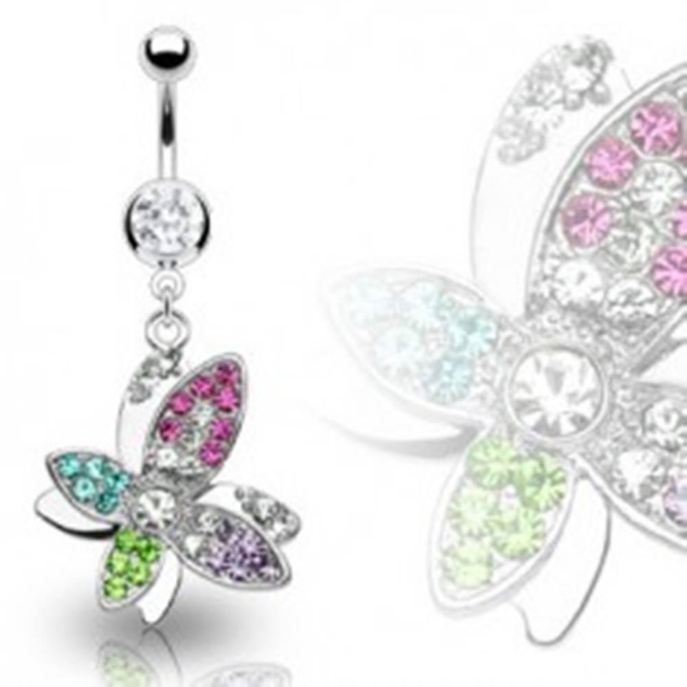 Šperky eshop Luxusný oceľový piercing bruška krásny farebný kvet vyložený zirkónmi