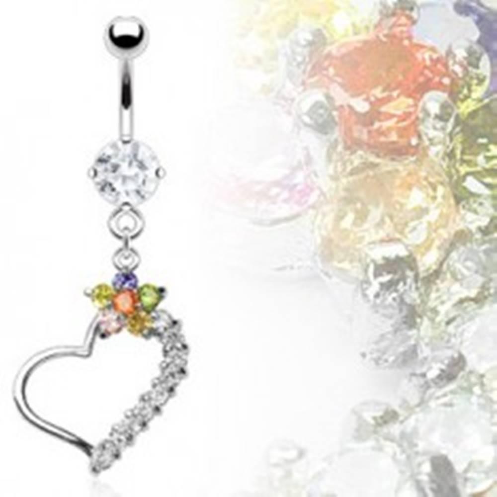 Šperky eshop Luxusný piercing brucha srdce s farebným kvetom