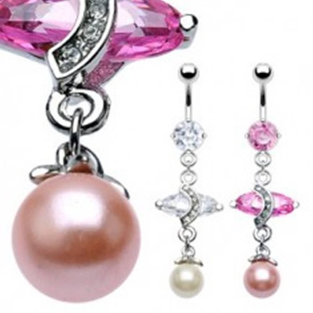Šperky eshop Luxusný piercing do bruška s veľkým oválnym zirkónom a perlou - Farba zirkónu: Ružová - P