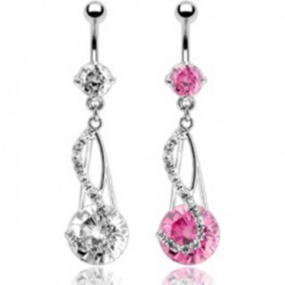 Šperky eshop Luxusný piercing do pupku s extra veľkým zirkónom v esovitom úchyte - Farba zirkónu: Číra - C