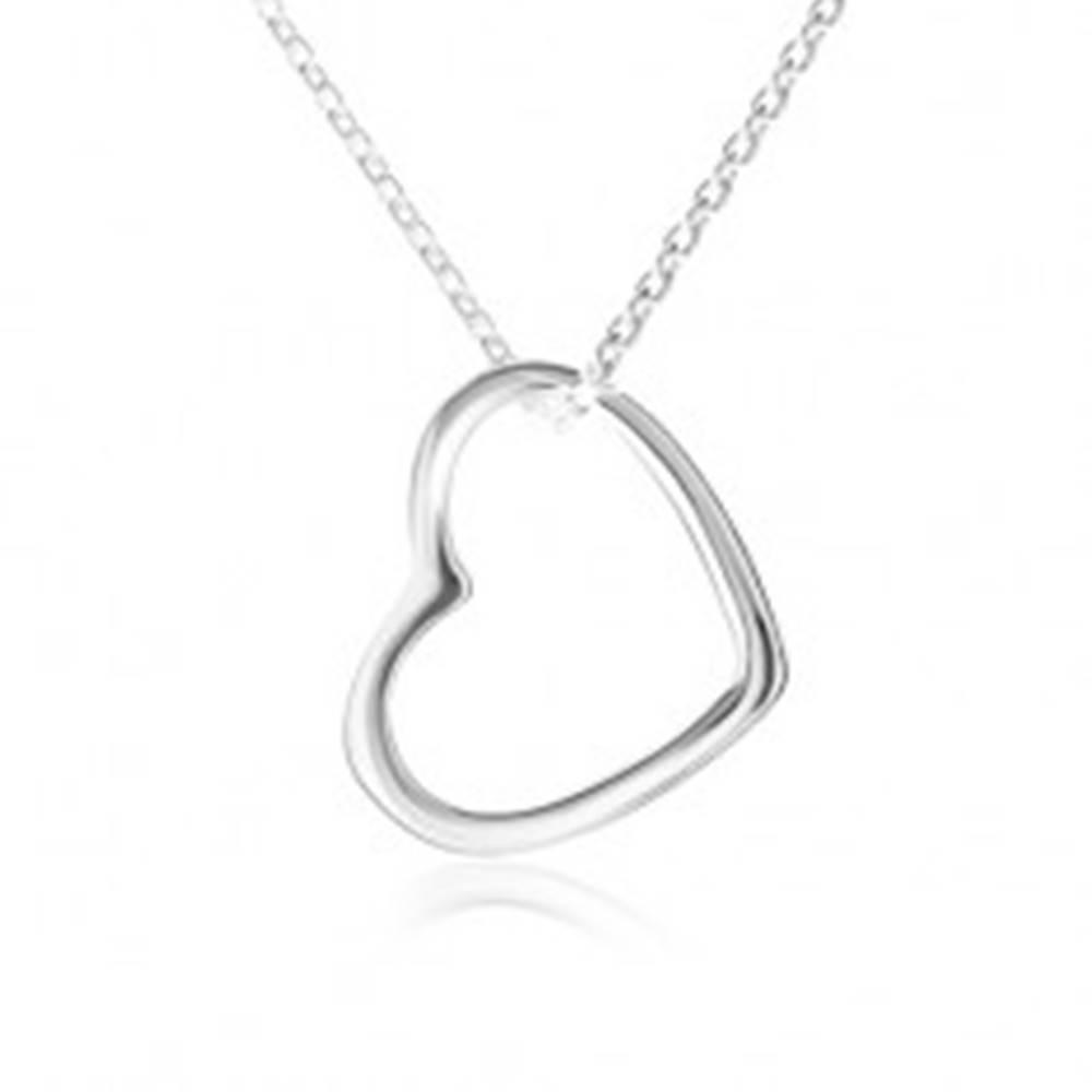 Šperky eshop Náhrdelník - kontúra súmerného srdca, ligotavá retiazka, striebro 925