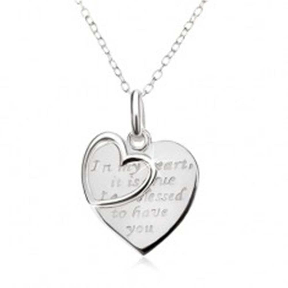 Šperky eshop Náhrdelník - retiazka, srdce s nápisom, obrys srdca, striebro 925