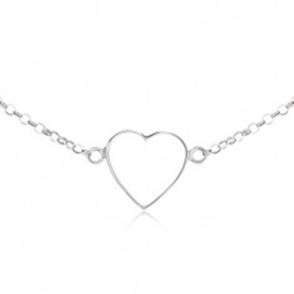 Šperky eshop Náhrdelník zo striebra 925 - kontúra súmerného srdca, retiazka