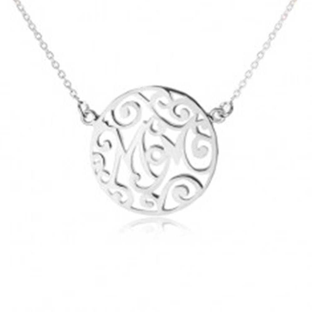 Šperky eshop Náhrdelník zo striebra 925 - retiazka a vyrezávaný kruh, Mom