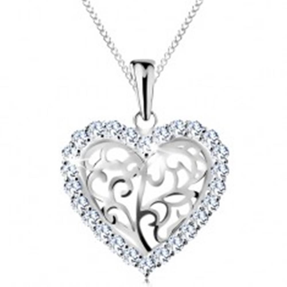 Šperky eshop Náhrdelník zo striebra 925, srdiečko z ornamentov s čírym zirkónovým lemom