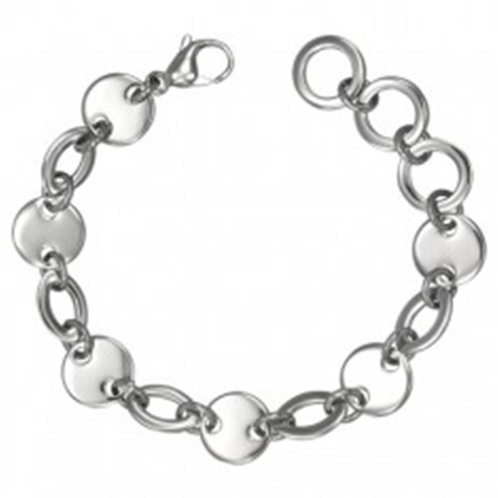 Šperky eshop Náramok ocele 316L, okrúhle a oválne články, strieborná farba