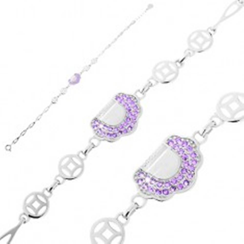 Šperky eshop Nastaviteľný náramok - striebro 925, slzičkové články, kabelka s fialovými zirkónmi