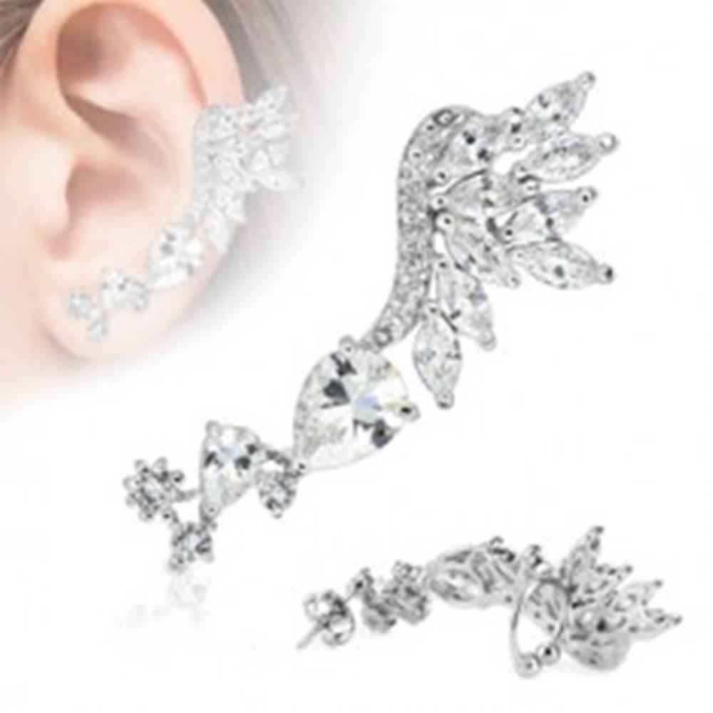 Šperky eshop Náušnica na jedno ucho, chirurgická oceľ striebornej farby, číre zirkóny - Tvar: Ľavý