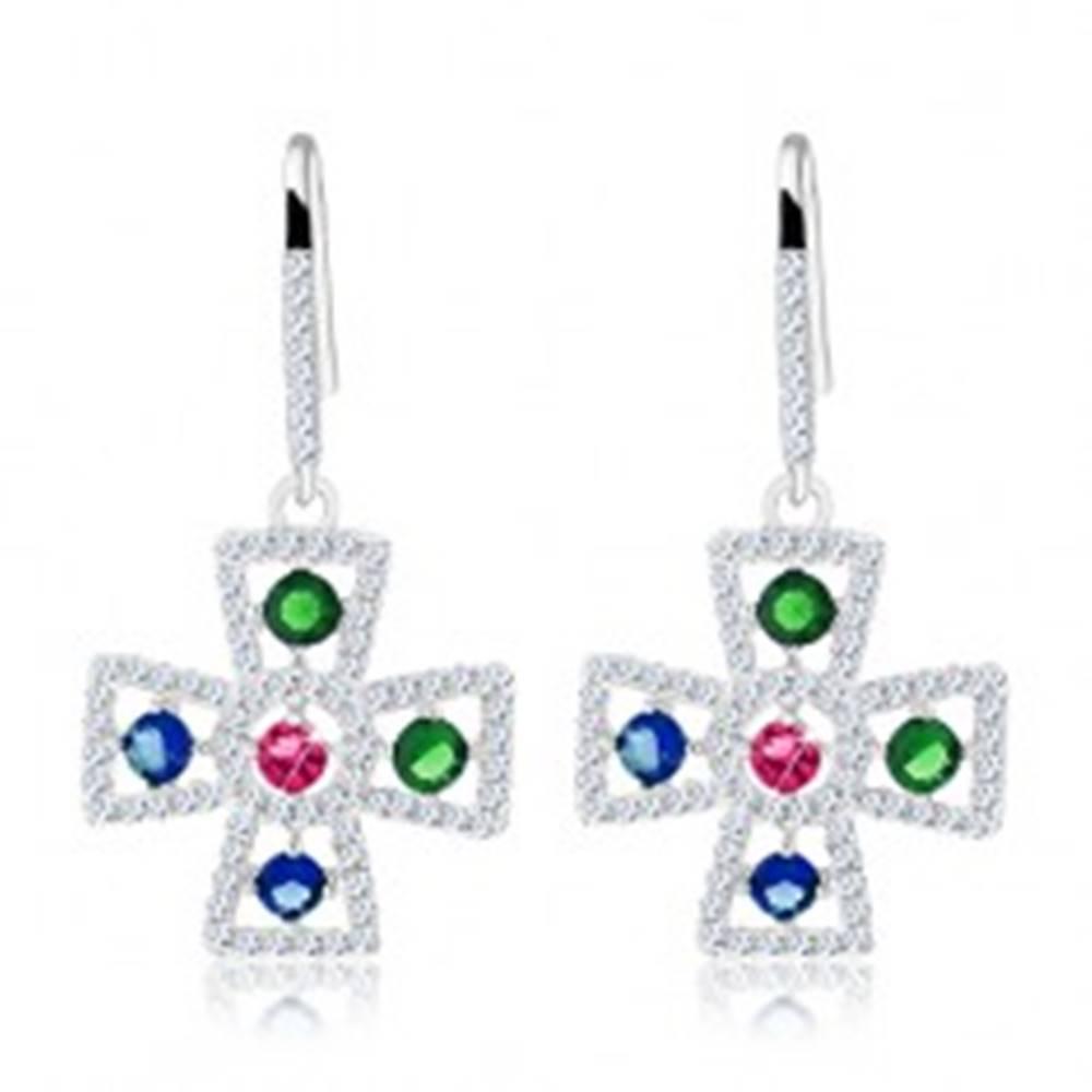 Šperky eshop Náušnice, striebro 925, obrys maltézskeho kríža, farebné zirkóniky