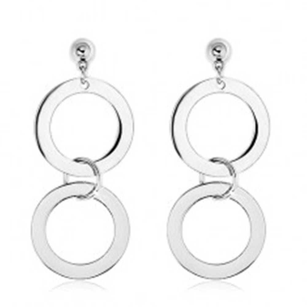Šperky eshop Náušnice z ocele 316L, dva zrkadlovolesklé kruhy striebornej farby