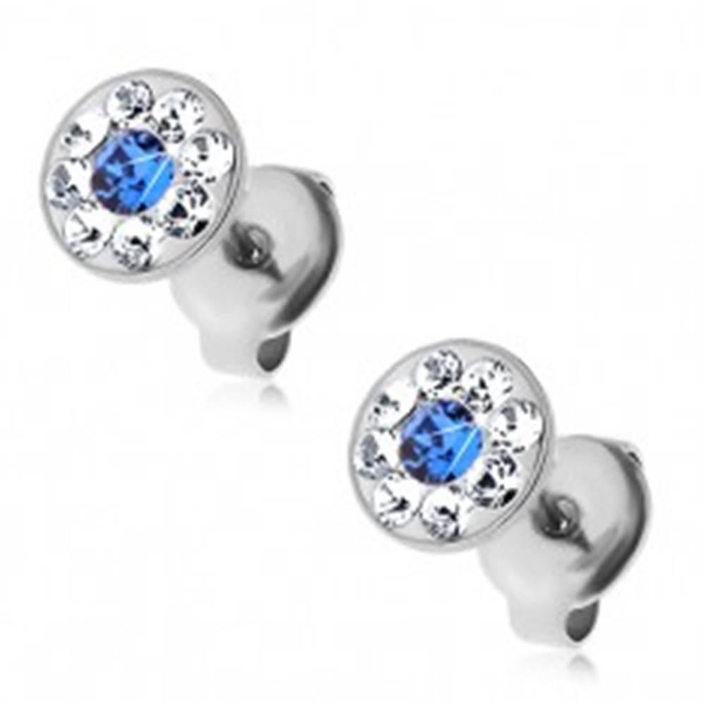 Šperky eshop Náušnice z ocele 316L s modrým a čírymi krištálikmi Swarovski, puzetky