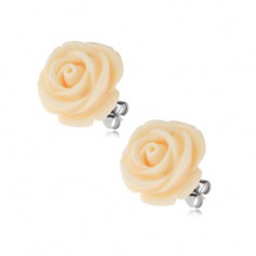 Šperky eshop Náušnice z ocele, krémová farba, kvet ruže, puzetové zapínanie, 14 mm