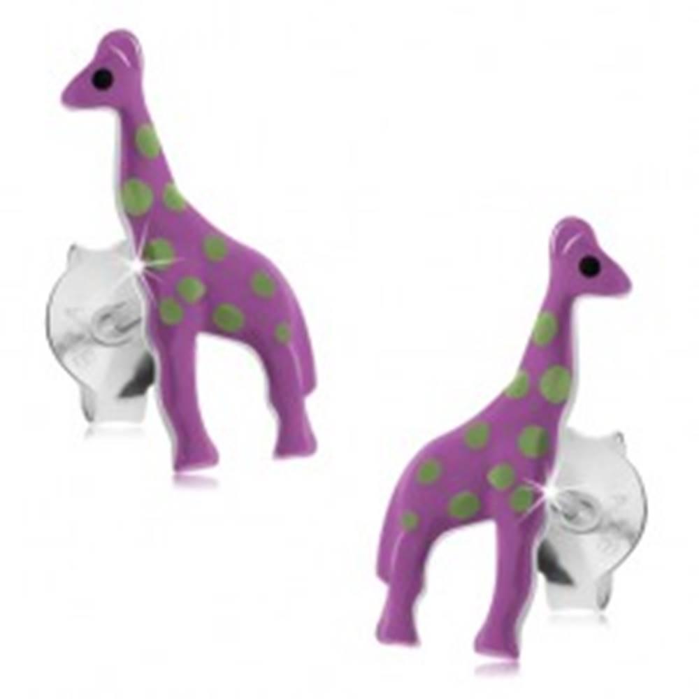 Šperky eshop Náušnice zo striebra 925, fialová žirafa so svetlozelenými škvrnami