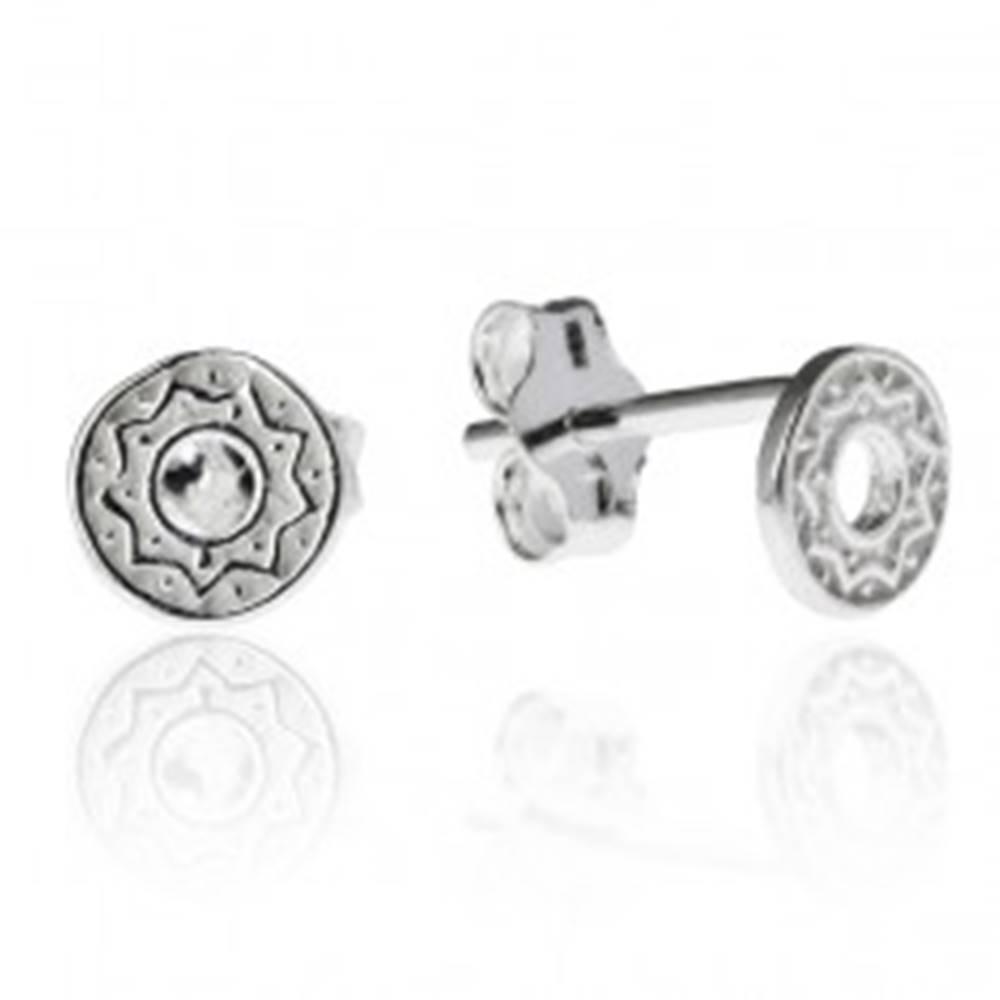 Šperky eshop Náušnice zo striebra 925 - kruh s cik-cak vzorom